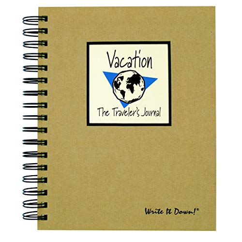 "Journals Unlimited ""Write it Down!"" Series Guided Journal, Vacation, The Traveler's Journal (Globe), with a Kraft Hard Cover, Made of Recycled Materials, 7.5�x9�"