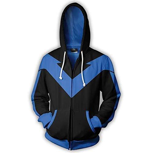 LILLIWEEN Nightwing Hoodie Halloween Cosplay Costume Men's Hooded Sweatshirt Jacket M