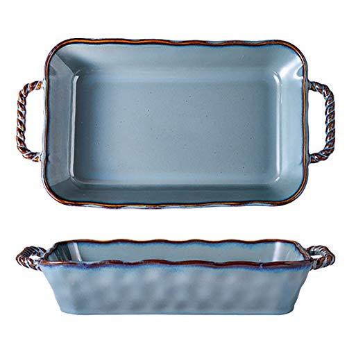 Utensilios para hornear de cerámica, plato rectangular para hornear con asa, sartén para asar lasaña para cocinar, cocina, pastel, cena, banquete