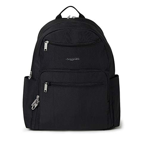 Baggallini womens All Over Laptop Backpack, Black/Sand, One Size US