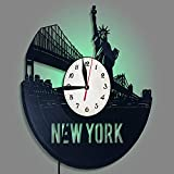 MYYXGS Reloj De Pared Reloj De Pared Reloj De Pared con Registro De Vinilo Reloj De Pared con Luz Nocturna Led DecoracióN Silenciosa De Reloj Sin CaíDa