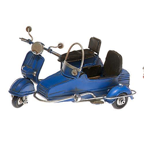 Pamer-Toys Motorradmodell aus Blech - im Antik-Vintage-Retro-Style - Motorroller mit Beiwagen, blau