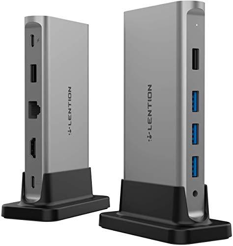 LENTION USB C ハブ CB-D53 縦置きドッキングステーション USB Type C 4K HDMI 5つUSBポート USB3.0 ギガビット有線LAN Power Delivery対応 最大100Wを接続可能 MacBook Pro 13 (2016-2020)、MacBook Pro 15 (2016-2019)、MacBook Pro 16 (2019)、MacBook Air (2018-2020)、New iMac、MacBook 12、Surface Pro 7 / Go、Chromebookなどのノートパソコン、タブレットPC対応 (スペースグレイ)