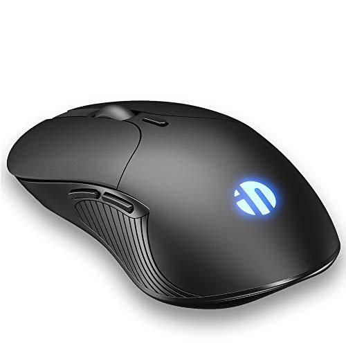 INPHIC M101 Trådlös tyst mus kontor och spelmöss protable lättviktsmus för PC bärbar dator MacBook lunix Windows, Svart