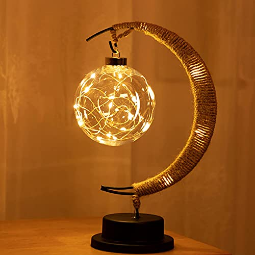 The Enchanted Lunar Lamp - Hanging LED Moon Lamp Night Light with Stand, Lunar Lamp Crescent Moon Ball Table Light, for Home Party Romantic Holiday Decor, USB/Battery Powered (Amarillo cálido)