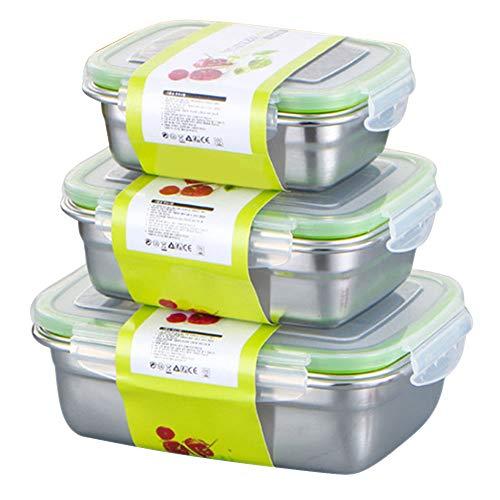 Confezione da 3 contenitori per alimenti con coperchio, contenitore per la preparazione dei pasti in acciaio inox, ermetico e a prova di perdite, facile chiusura a scatto in metallo, set da cucina
