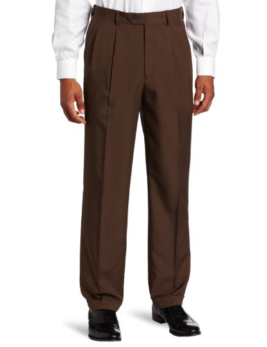 Savane Men's Big-Tall Select Edition Microfiber Pleated Dress Pant, Twig, 46x34