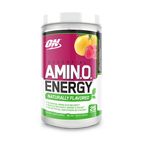 Optimum Nutrition Amino Energy Naturally Flavored - Pre Workout with Green Tea, BCAA, Amino Acids, Keto Friendly, Green Coffee Extract, Energy Powder - Simply Raspberry Lemonade, 25 Servings
