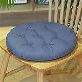 SWECOMZE 2er Set Sitzkissen, Sitzkissen für Gartenstuhl, Kissen Sitzauflage Stuhlauflage für Indoor und Outdoor 40x40 cm (Grau Blau,Runden)