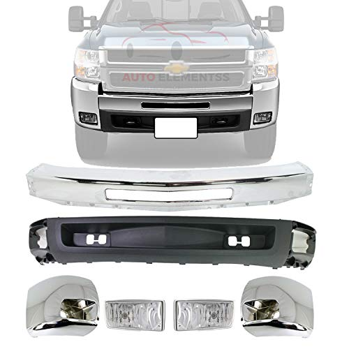 New Front Bumper Chrome Steel + Lower Valance Air Deflector Textured + End Caps + Fog Light For 2007-2010 Chevrolet Silverado 2500HD 3500HD Direct Replacement