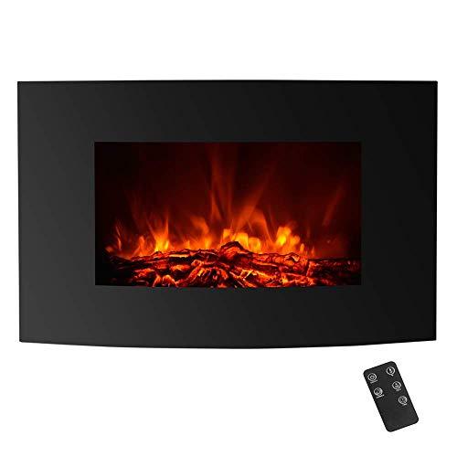 Chimenea Eléctrica Incrustada con Temporizador y Termostato para la Calefacción y Decoración - 1800W/900W - Llama de Carbón - Color Negro IKAYAA