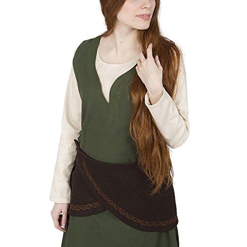 Burgschneider Cinturón de Mujer Medieval con cinturón Ketra con Cordones Fieltro de Lana marrón - L