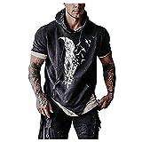 Men's Hoodie T-Shirt Feather Print Fitness Short Sleeve Sports Top Sweatshirt Blouse Black