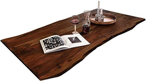 SAM Tischplatte 140x80 cm, Quintus, Akazie, nussbaumfarben, stilvolle Baumkanten-Platte, Unikat