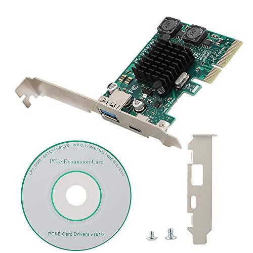 ASHATA Erweiterte PCI-E-Adapterkarte,Hochgeschwindigkeit Desktop-PCI-E auf USB3.1-Erweiterung Adapter-Riser-Karte Typ A+Typ C mit 2 unabhängigen Energieverwaltungsmodulen für XP/WIN7/8/8.1/10