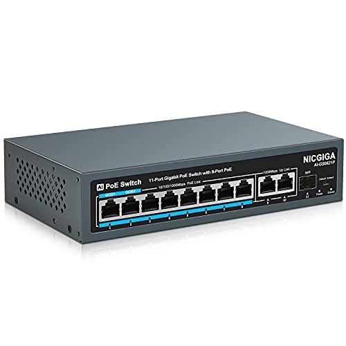 NICGIGA 11 Port Gigabit PoE Switch mit 8 Port Gigabit PoE@120W, 2 Gigabit Uplink Ports, 1 SFP, lüfterloses Metall für Desktop/Wand, AI Watchdog Detection, Qos, VLAN (AI-GS0821P)