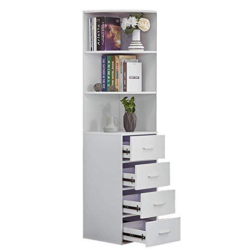 BOJU Living Room Bookcase White Tall Cabinet with 4 Drawers 3 Shelves Corner Wood Bathroom Unit Storage Cabinet Cupboard Sideboard Slimline