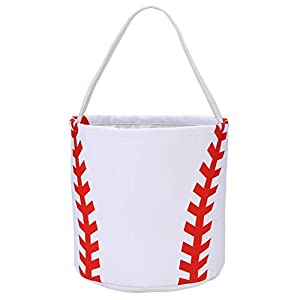 Baseball Easter Basket Eggs Bags with basell Printing Softball Easter Baskets Tote Bag Storage Gifts Candies Bucket for Kids Girls with Handles