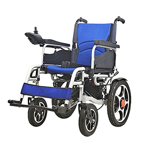 Silla de ruedas eléctrica, estructura de acero al carbono, silla de ruedas eléctrica plegable, potente asiento de rueda auxiliar de doble motor, apto para personas mayores y discapacitadas/Com
