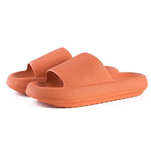 sdfa Pillow Slides Slippers, Cloud Feet Ultra Soft Slippers Non-Slip Quick-Drying Open Toe Pillow Slide Sandals, Unisex Shower Pillow Slides (Orange, 36-37)