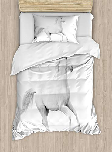 Ambesonne Black and White Duvet Cover Set Twin Size, White Stallion Running Horse Galloping Motion Speed Equestrian Print, Decorative 2 Piece Bedding Set with 1 Pillow Sham, White and Black