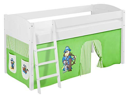 Lilokids Spielbett IDA 4106 Pirat Grün Beige-Teilbares Systemhochbett weiß-mit Vorhang Kinderbett, Holz, 208 x 98 x 113 cm