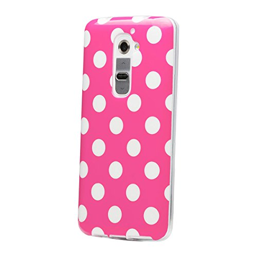 iCues LG G2   Polka Dots TPU Case Pink   [Display Schutzfolie Inklusive] Damen Frauen Mädchen Silikon Gel Motiv Muster Schutzhülle Hülle Cover Schutz