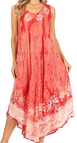 Sakkas 17806 - Julia Boho évasé Multicolore Marbre Batik Coton Robe Longue/Cover Up - Rose - OS