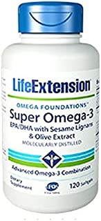 Life Extension Super Omega-3 EPA/DHA with Seasame Lignans and Olive Fruit Extract Softgels, 120 Count