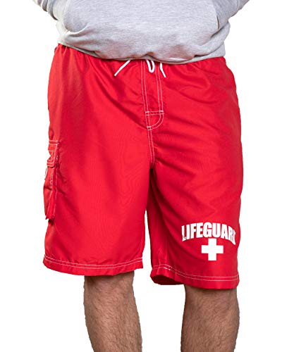LIFEGUARD Officially Licensed Men's Board Shorts Swim Trunks, Red, Medium