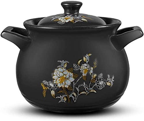 HYYDP Cacerolas Pote de Cocina de cerámica 4.5L Terracota Cocinar macetas Casserole Platos con Tapa-conducción de Calor rápido, Pan Antiadherente Duradera y fácil de Limpiar