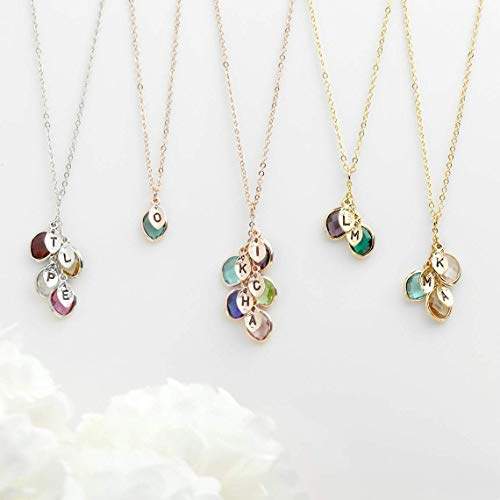 Mothers day Gift Personalized Gift for Women Grandma Gifts Birthstone Necklace Initial Necklace for Women Gifts for Her Birthstone Jewelry - BSON-L-D