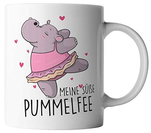 vanVerden Tasse - Meine süße Pummelfee - beidseitig Bedruckt - Geschenk Idee Kaffeetassen, Tassenfarbe:Weiß