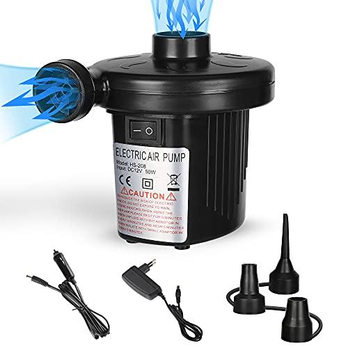 FEALING - Pompa elettrica USB elettrica 2 in 1, pompa elettrica con 3 ugelli d'aria, compressore per materassi ad aria, gommoni, letti degli ospiti, galleggianti o campeggio