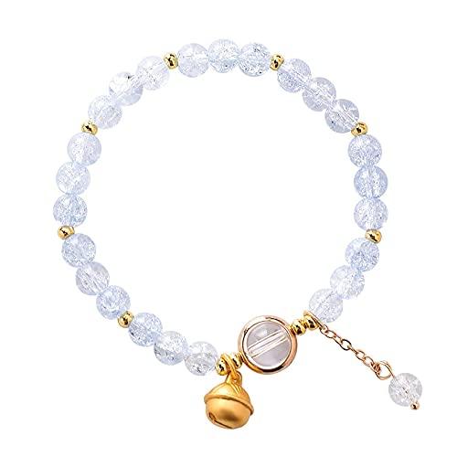 Pulsera de campana de cristal con flor pop personalizada Pulsera de un solo círculo con cuentas de ráfaga simple Blanco