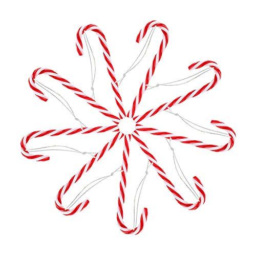 24 Piezas Bastones de Dulce de Navidad,Dulces Muletas Decoración del árbol,Candy Cane Árboles Navidad,Decoraciones Bastones Caramelo de Navidad,Navidad Muletas(15cm)