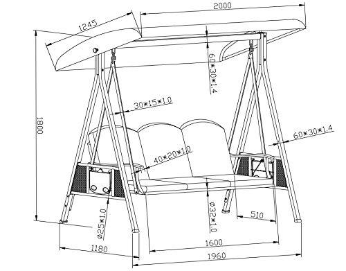 SORARA Luxus 3-sitzer Hollywoodschaukel | Braun | extra stabile Ausführung | Gartenschaukel Gartenliege Schaukelbank Gartenmöbel - 8