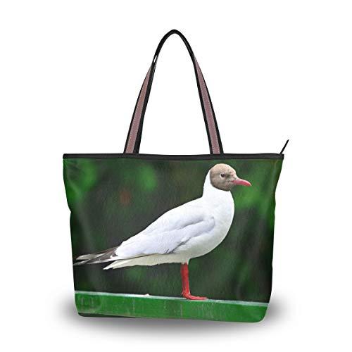 LENNEL Handtasche Reißverschluss-Schulter-Beutel-Einkaufstasche Schwarzköpfige Möve-beiläufige Mädchenfrauen