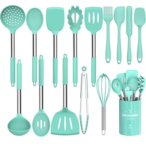 Silicone Cooking Utensil Set, Umite Chef 15pcs Silicone Cooking Kitchen Utensils Set, Non-stick Heat Resistant - Best Kitchen Cookware with Stainless Steel Handle - Green(BPA Free, Non Toxic)