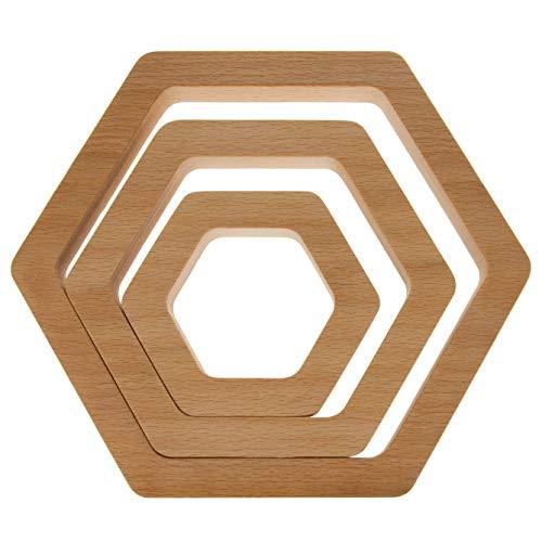 Topfuntersetzer aus Holz 3er Set Hexagon   20cm,15cm,10cm   Massivholz Buche, Esche, Eiche, Kirsche oder Nussbaum   Kochtopf Untersetzer aus Holz (Buche)