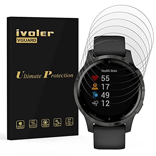 ivoler 6 Stück Schutzfolie Bildschirmschutzfolie für Garmin Vivoactive 4s 40mm Smartwatch, 3D Vollständige Abdeckung [Wet Applied] [Anti-Kratz] [Blasenfrei] HD TPU Weich Folie