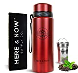 25 oz Multi-Purpose Travel Mug and Tumbler | Tea Infuser Water Bottle | Fruit Infused Flask | Hot & Cold Double Wall Stainless Steel Coffee Thermos | by Here & Now Supply Co. (Cosmic Silver)