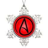 VinMea Xmas Snowflake Metal Ornaments Personalised Christmas Tree Decoration Atheist Symbol Small Artificial Christmas Trees Agnosticism