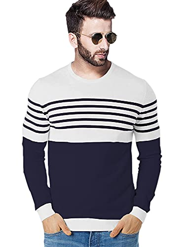BLIVE Men's Striped Round Neck Full Sleeve Cotton Blend T Shirt