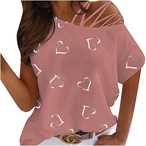 AMhomely Blusas y camisas para mujer con cuello redondo de manga corta, sin tirantes, para mujer