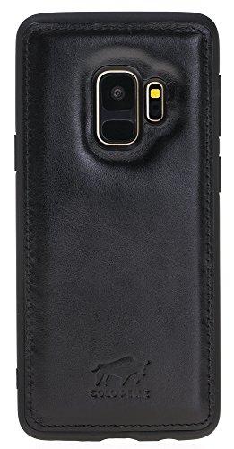 Solo Pelle Lederhülle für das Samsung Galaxy S9 Hülle, Schutzhülle aus echtem Leder, Model: Stanford in Schwarz
