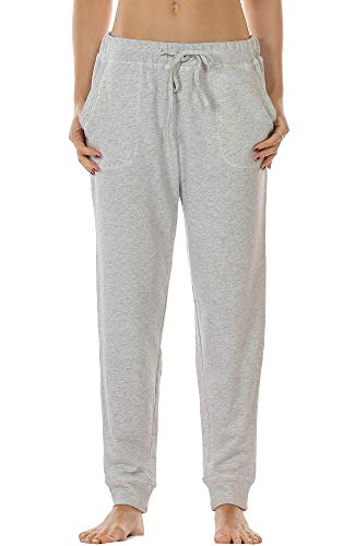 icyzone Women's Active Joggers Sweatpants - Athletic Yoga Lounge Pants with Pockets (Grey, L)