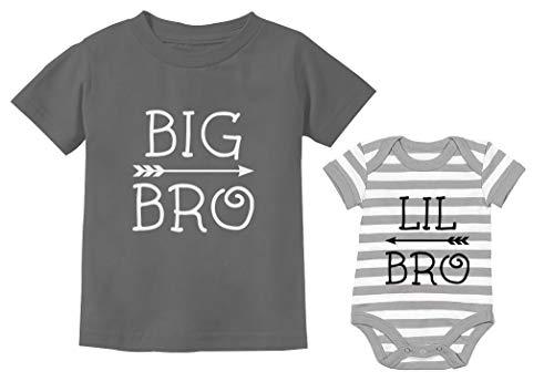 Big Bro Little Bro Shirts Big Brother Little Brother Boys conjuntos a juego, Big Bro Gris Oscuro/Lil Bro Gris/Blanco, Big bro 3T / Lil bro NB (0-3M)