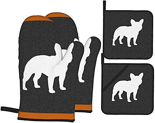 French Bulldog Silhouette Frenchie Dog Oven Mitts and Pot Holders 4pcs Set Heat Resistant Non-Slip Food Grade Kitchen Gloves for Cooking,Baking,BBQ