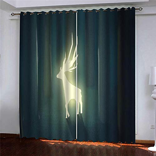 CLYDX Kids Blackout Curtains for Bedroom 3D Printed Thermal Insulated Curtains Eyelet Blackout Curtains for Bedroom 2 * W43 x L84 - Glowing Fawn Dark Green